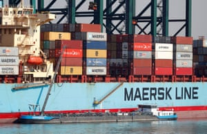 A Maersk Line container ship at the port of Antwerp, Belgium
