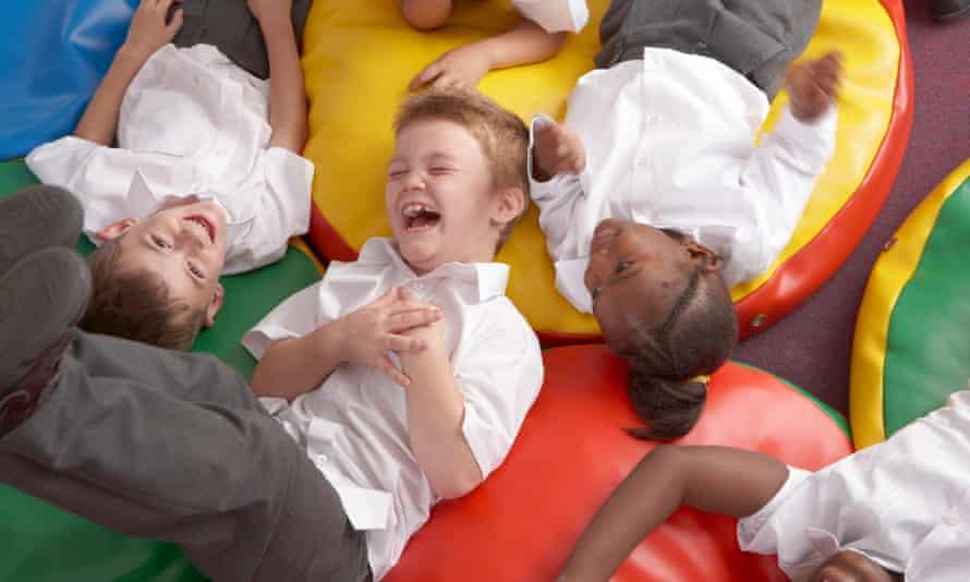 School children laughing