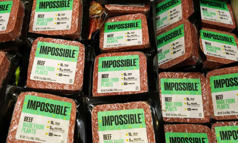 Impossible Foods' plant-based beef products are seen in the meat section of a supermarket in Hong Kong.