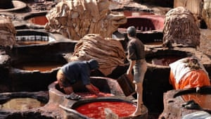 Leather tanning in India.