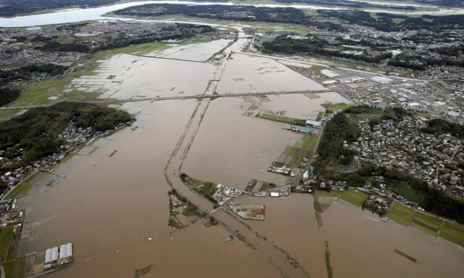 The Kashima Rive after torrential rain in Japan's Chiba prefecture, east of Tokyo. Eight people have died in mudslides and flooding.