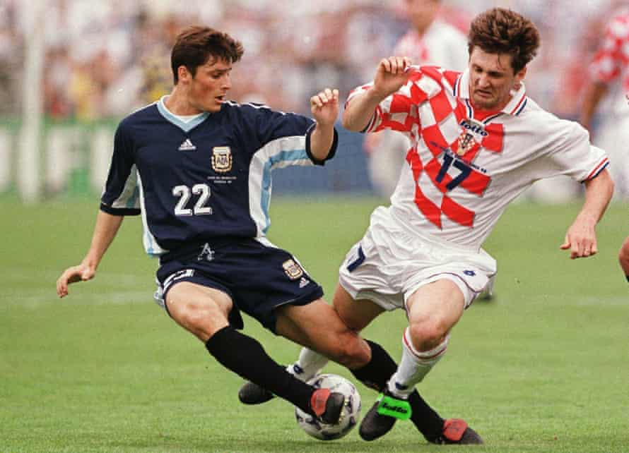 Javier Zanetti (left) battles with Robert Jarni of Croatia during the 1998 World Cup.