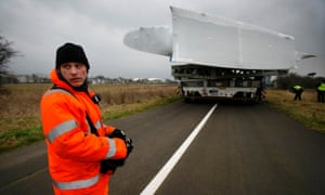 An A380 wing is transported from the Airbus factory in Broughton, north Wales