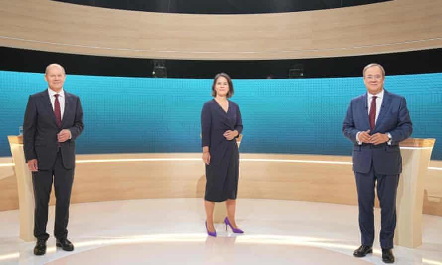 Olaf Scholz (SPD), Annalena Baerbock (Greens) and Armin Laschet (CDU) at a TV election debate in Berlin on 12 September 2021.