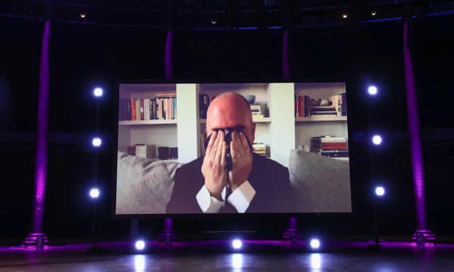 Douglas Stuart via video call reacting to winning the 2020 Booker prize for his novel Shuggie Bain.