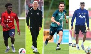 Arsenal's Bukayo Saka, Newcastle's Matty Longstaff, Southampton's Jake Vokins and Manchester United's Mason Greenwood.