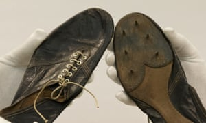 The running shoes worn by Britain's Roger Bannister, the first man to run a sub four-minute mile.