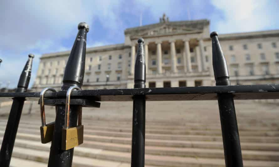 Locked gates at Stormont. Assembly members' pay is due to fall from £49,500 to £35,888 in November.