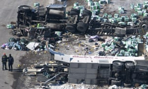 Bus crash wreckage
