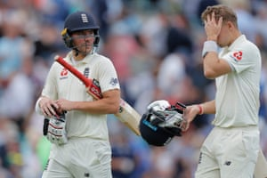 England's Joe Root (right) and Rory Burns head in for lunch.