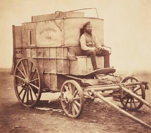 Roger Fenton's horse-drawn photographic van, 1855.