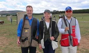 Then senator Nigel Scullion, left, Bridget McKenzie and MP Ian Goodenough at the annual pollies v press Christmas shooting event.
