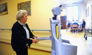 Robot-Era provides indoor walking support to help the resident reach the dining room
