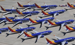 Grounded Boeing 737 Max planes in Victorville, California on 24 April 2019.