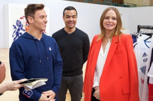 Tom Daley, John Stewart and Stella McCartney at the launch.