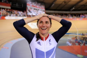 Sarah Storey celebrates winning her gold medal in the women's C5 pursuit final at the 2012 Paralympic Games.