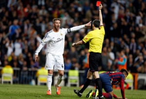 Ramos is dismissed in the clásico after a foul on Neymar. Barcelona also won a penalty that swung the game in their favour.