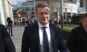 Stuart Olding leaving Belfast crown court being found not guilty of rape.