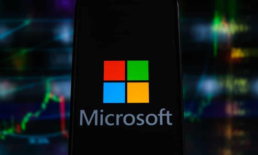 The Microsoft logo on a smartphone