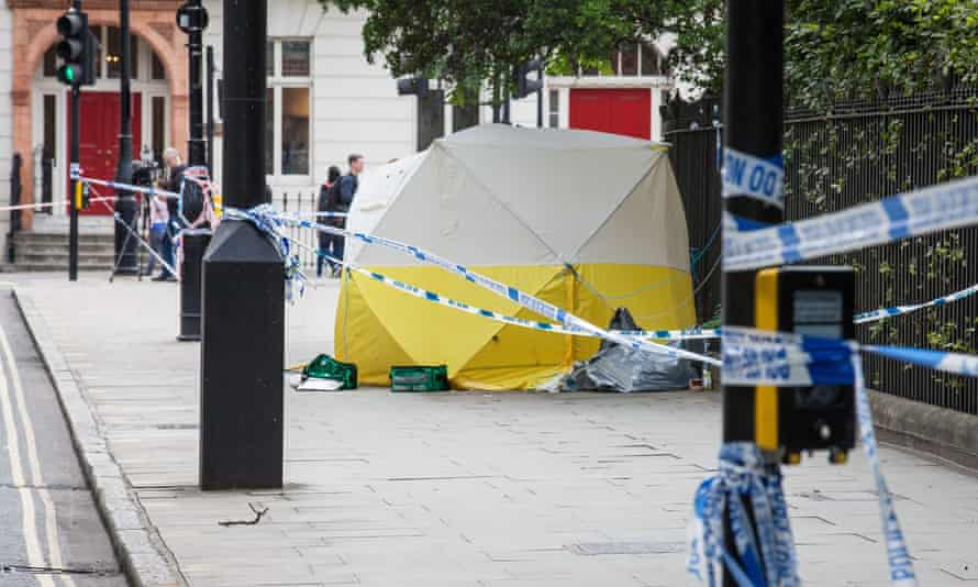 A forensic tent in Russell Square.