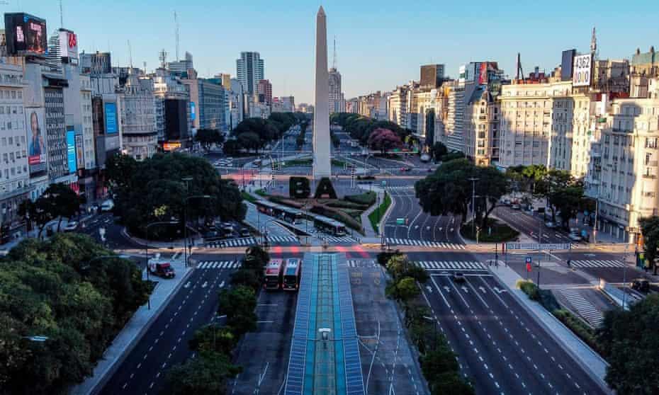 The empty 9 de Julio Avenue in Buenos Aires, Argentina