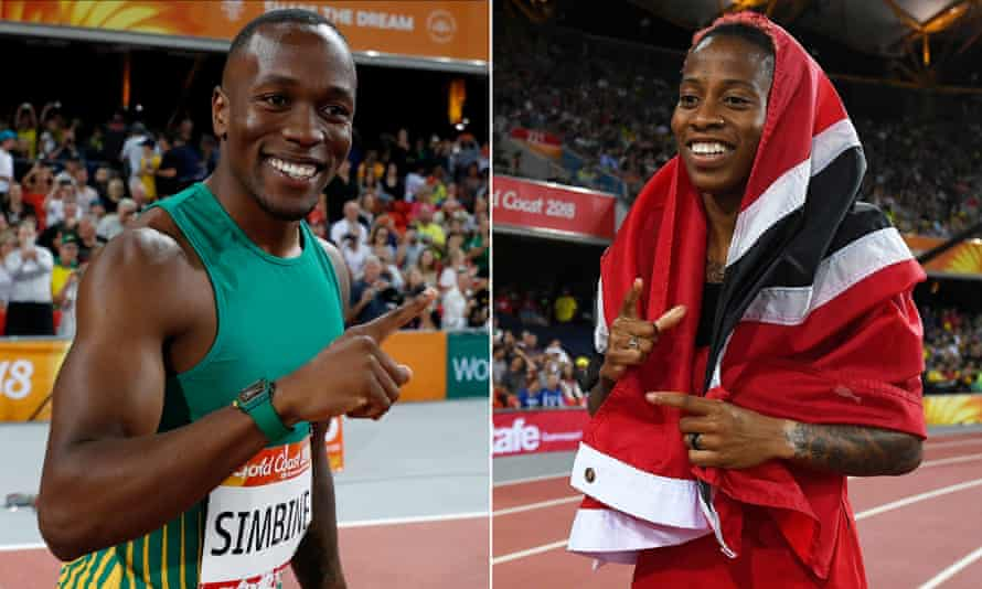 Akani Simbine of South Africa and Michelle-Lee Ahye of Trinidad and Tobago celebrate their respective 100m victories.