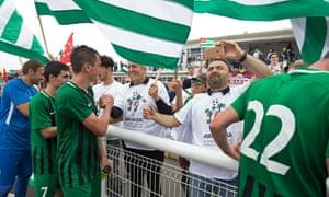 Abkhazian players meet their fans.