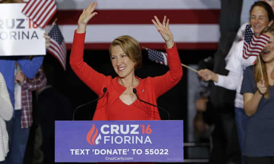 Running mate: Carly Fiorina during a rally for Republican presidential candidate Ted Cruz.