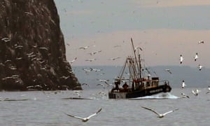Fishermen at work off the east coast of Scotland