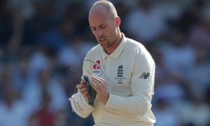 Jack Leach cleans his steamed-up glasses during his match-winning partnership at Headingley