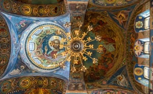 Church of The Resurrection of Jesus Christ, Russia. Influenced by Early Christian and Byzantine heritage, this interior has a radiant mosaic decoration that spans over 7,000 sq m (75,350 sq ft) of walls and ceiling and is made from twenty types of stone, including semi-precious jasper and topaz