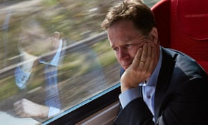 Nick Clegg looking regretful on a train journey up to his constituency in Sheffield.