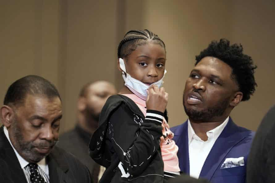 Gianna Floyd, the daughter of George Floyd, joins family and supporters during a news conference after the verdict was reached.