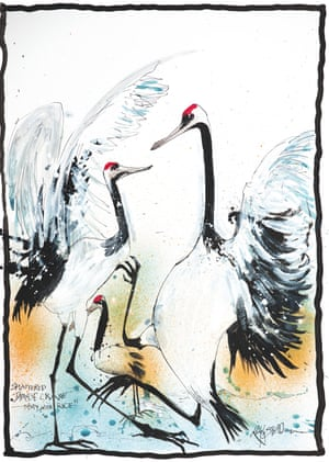 Splattered Japanese Crane – Tasty With Rice by Ralph Steadman