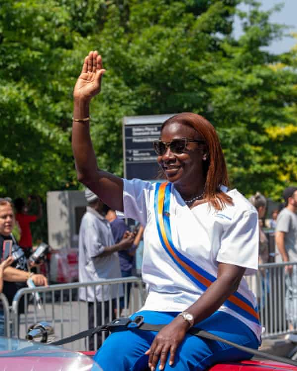 Sandra Lindsay, a critical care nurse, was the first person in the US to receive the Covid-19 vaccination. She was honored at the 'hometown heroes' ticker tape parade in New York City.