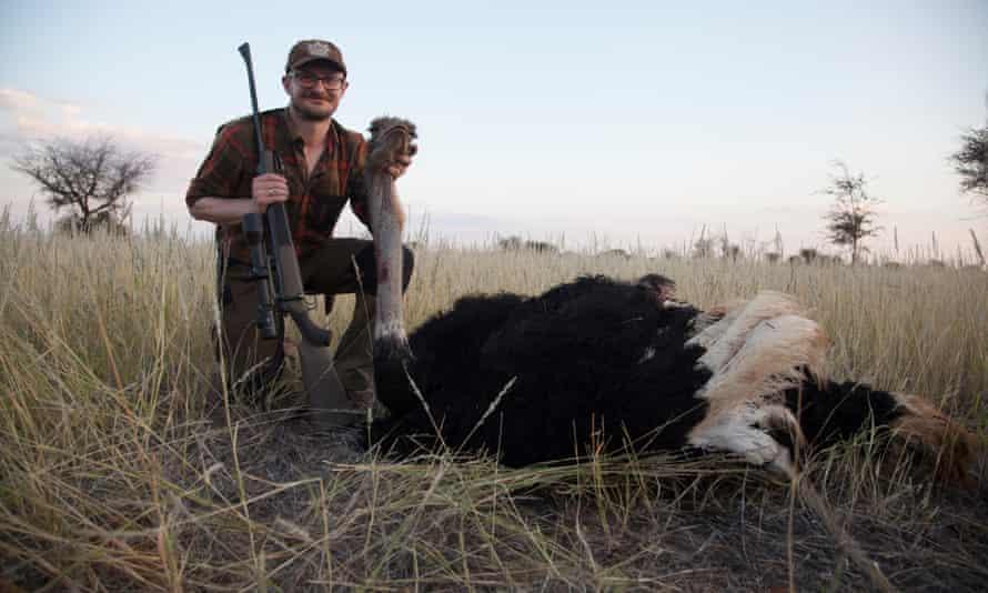 Jens Ulrik Høgh with an ostrich he has shot
