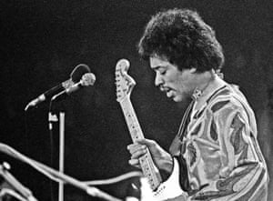 Jimi Hendrix performing at Isle of Wight festival 1970.