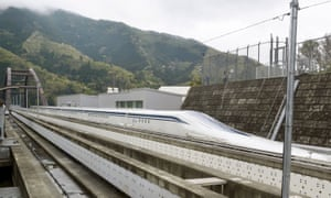 A magnetically levitating train on a test run in Japan.