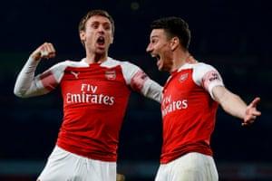 Koscielny celebrates Arsenal's third goal.