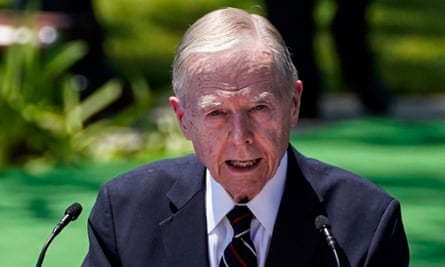 Pete Wilson speaks at the Richard Nixon Presidential Library, in Yorba Linda, California, in July.
