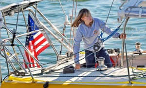 Abby Sunderland, then 16, looks out from her sailboat, Wild Eyes, as she leaves for her world record attempting journey at the Del Rey Yacht Club in Marina del Rey, California.