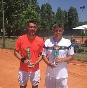 Paolo Maldini with his doubles partner Stefano Landonio. The pair have qualified for the Milan Open.