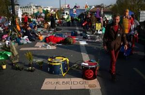 Extinction Rebellion protesters on Waterloo Bridge in London