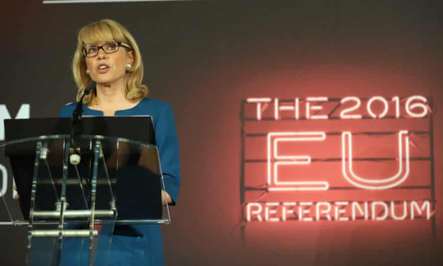 The Electoral Commission's Jenny Watson announces the final EU referendum results in Manchester.