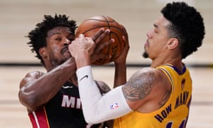 Danny Green (right) battles Jimmy Butler for the ball during Game 4 of the NBA finals