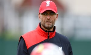 Jürgen Klopp during a Liverpool training session on Wednesday.