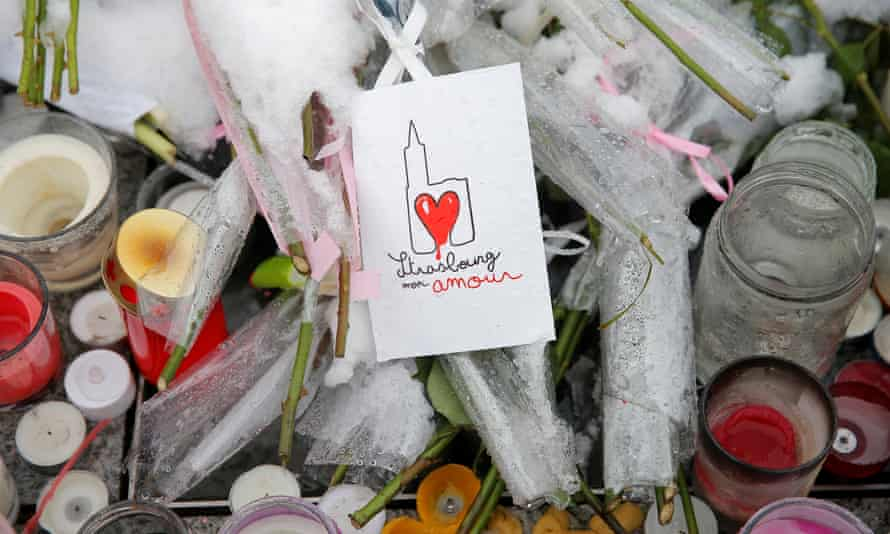Improvised tributes to the victims of 11 December  attack in Strasbourg, France