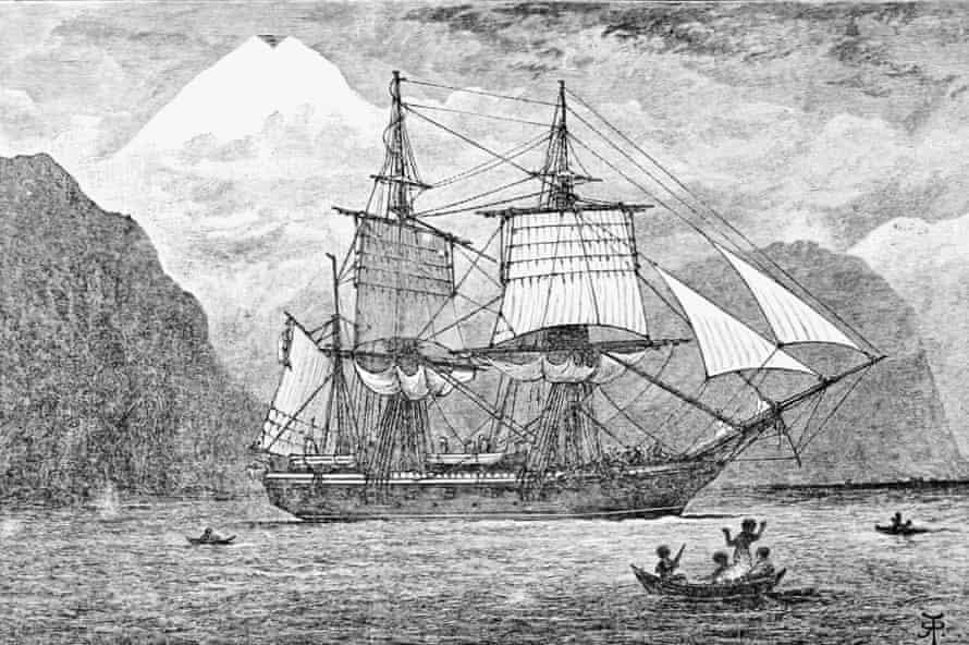 Ilustración del HMS Beagle.