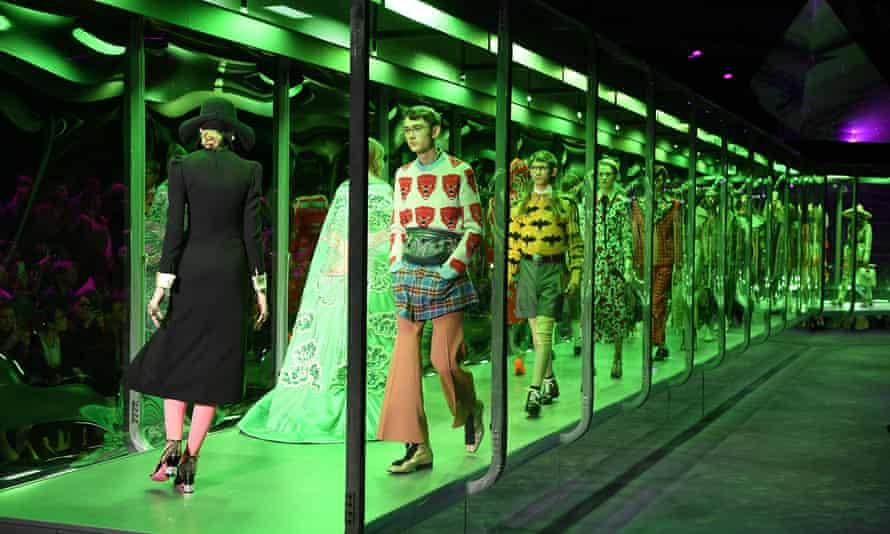 Models on catwalk at Gucci show