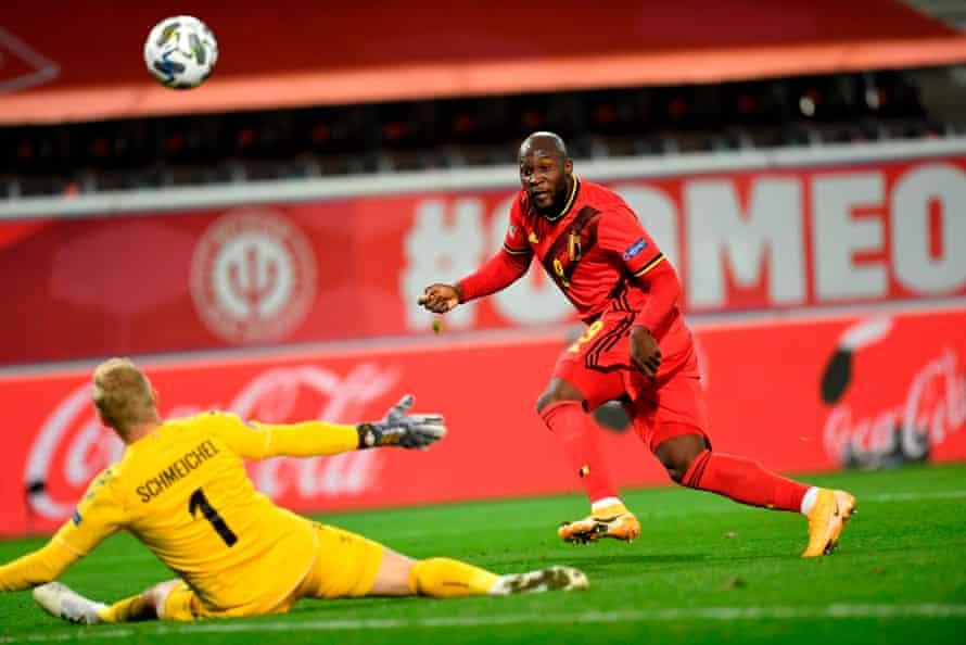 Romelu Lukaku scores in the Nations League for Belgium against Denmark